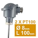 Sonde pt100 lisse avec tete de type B diam.8 L100mm double