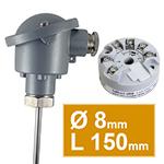 Sonde pt100 lisse avec tete B diam.8 L150mm avec convertisseur