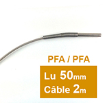 Sonde PT100 à cable 6 x 50mm PFA 2 m