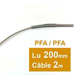 Sonde PT100 à cable diam 6 x 200mm PFA 2 m