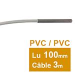 Sonde Pt100 lisse à cable diam 6 x 100mm PVC 3 m