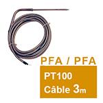 Sonde PT100 à piquer coudée câble PFA/PFA 3 m