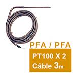 PT100 double à piquer coudée câble PFA/PFA Lc 3m