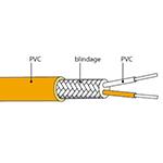 Câble de compensation thermocouple type S en PVC