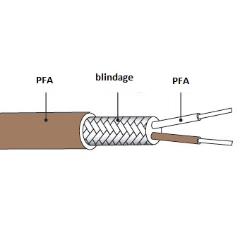 Câble d'extension thermocouple type T en PFA