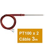 PT100 double à piquer câble silicone atoxique THT 3 m