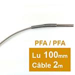 Sonde PT100 à cable 6 x 100mm PFA 2 m