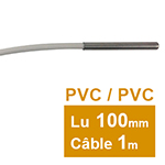 Sonde Pt100 lisse à cable 6 x 100mm PVC 1 m