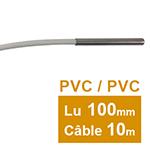Sonde Pt100 lisse à cable 6 x 100mm PVC 10 m