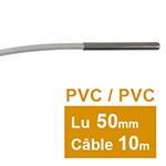 Sonde Pt100 lisse à cable 6 x 50mm PVC 10 m