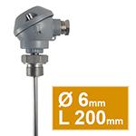 Pt100 à visser à tête  type MA d.6 L200mm indémontable