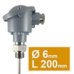 Pt100 à visser avec tête type B d.6 L200mm simple