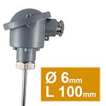 Pt100 lisse avec tête type B d,6 L100mm simple