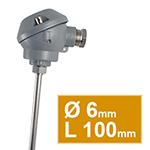 Pt100 lisse  avec tête type MA d.6 L100mm
